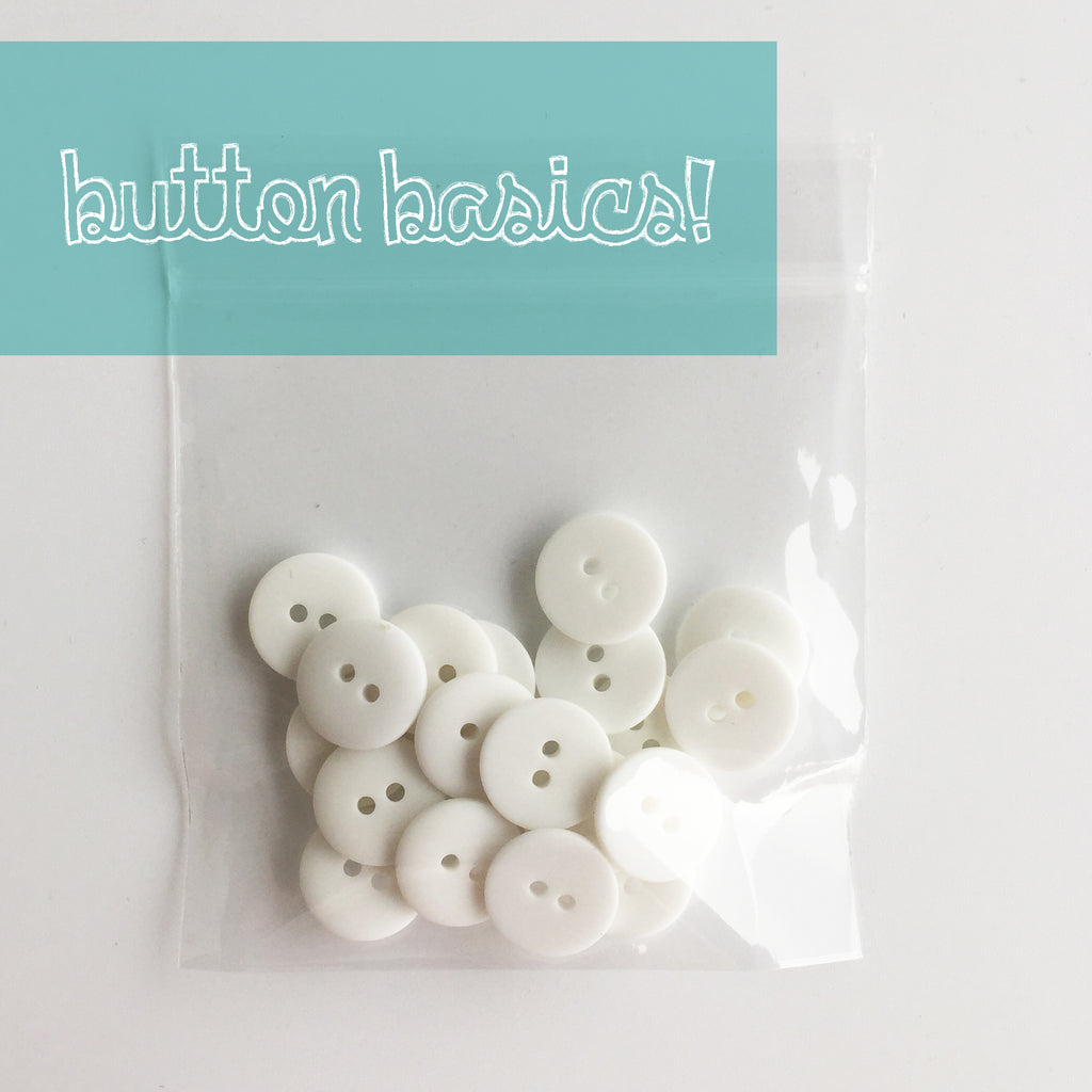 white hand dyed buttons 5/8""