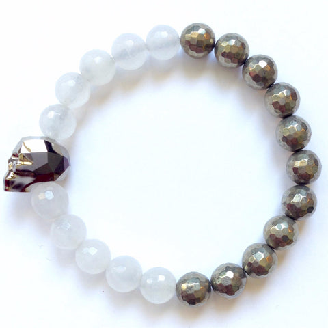 Solid Design Studios Swarovski Crystal Skull With Faceted White Agate & Pyrite Stretch Bracelet