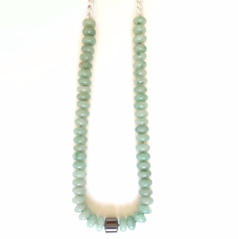 Solid Design Studios Lexington Hand-Knotted Necklace — Green Aventurine & Heavy Sterling Silver Chain