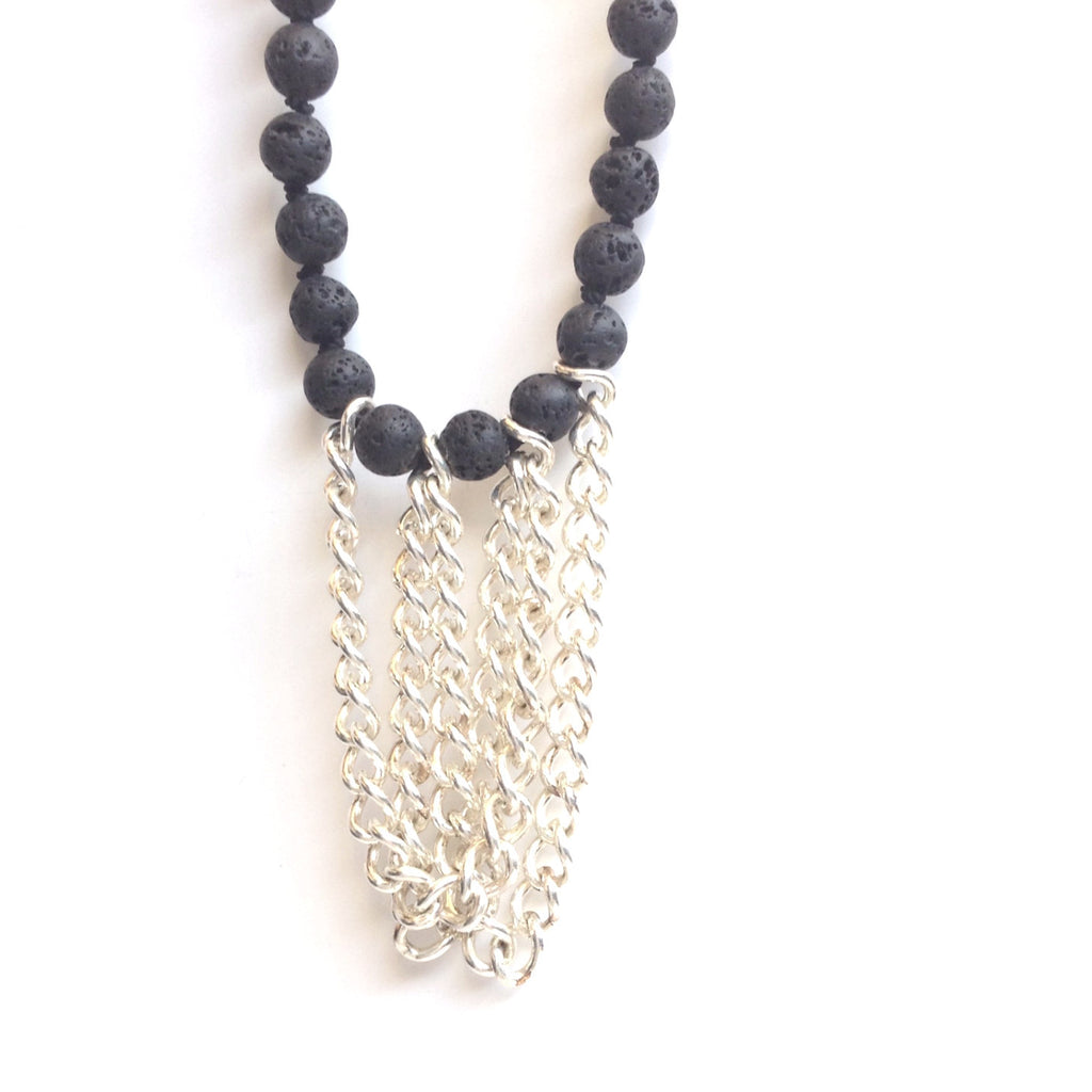 Solid Design Studios Drexel Hand-Knotted Necklace — Lava Stone & Heavy Sterling Silver Chain
