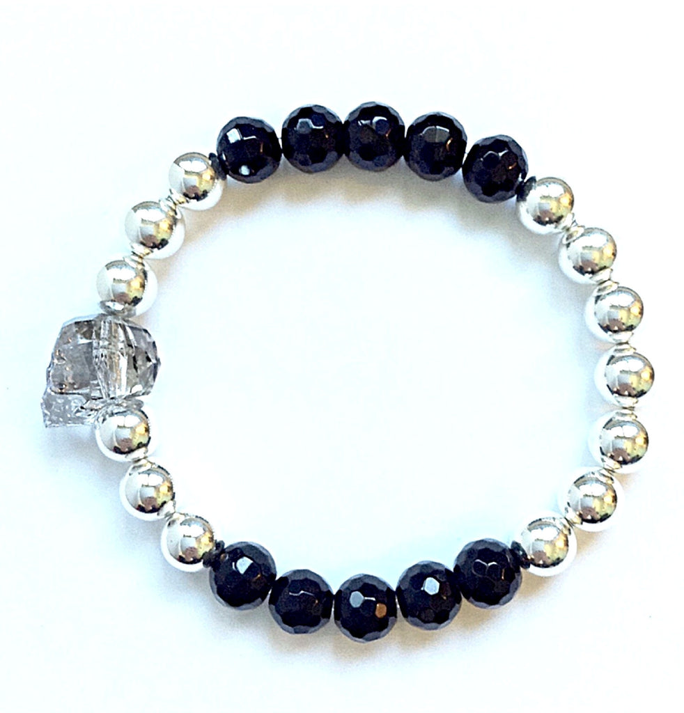 Solid Design Studios Swarovski Crystal Skull With Faceted Onyx & Sterling Silver Stretch Bracelet