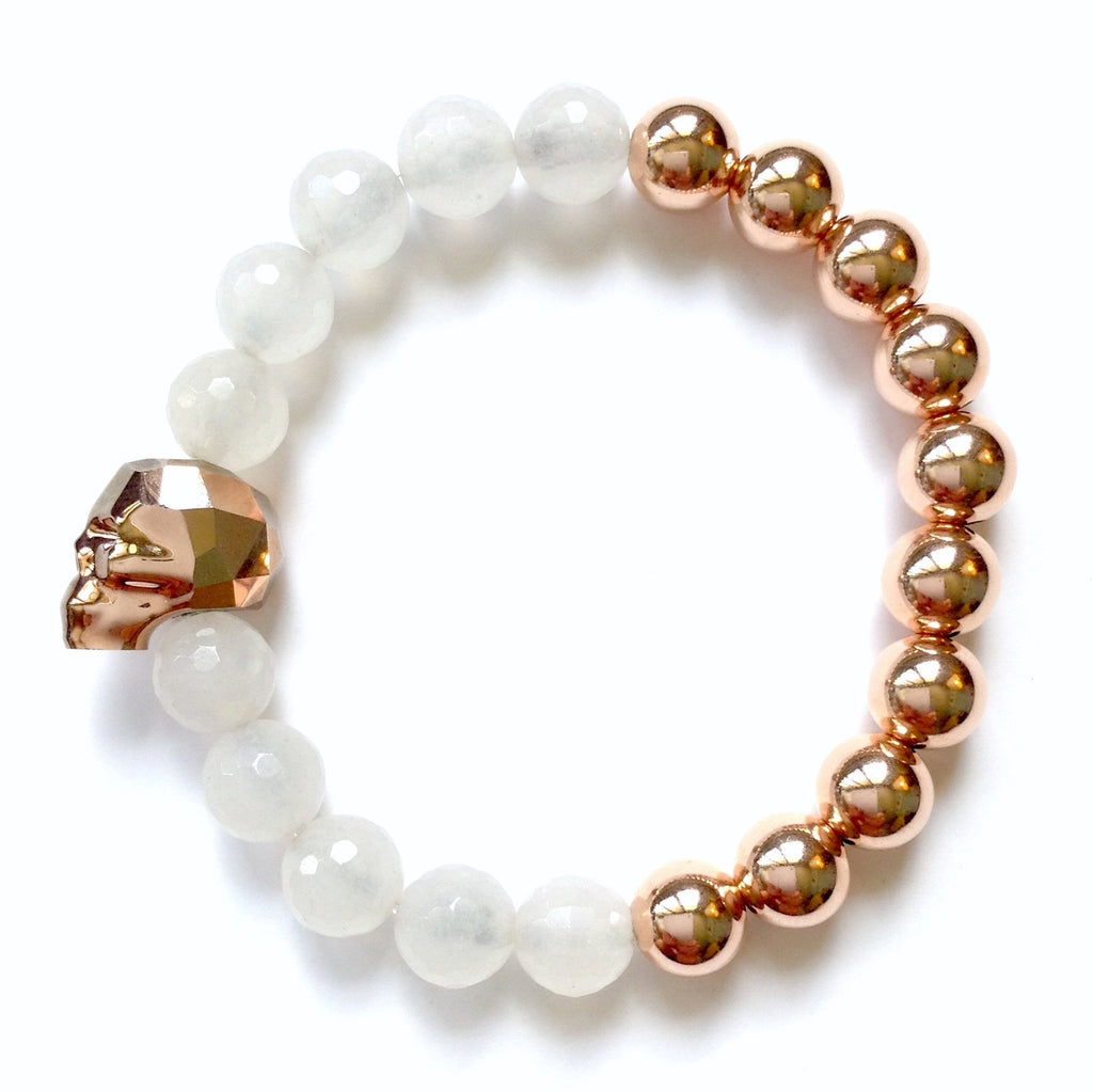 Solid Design Studios Swarovski Crystal Skull With Faceted White Agate & Rose Gold–Filled Stretch Bracelet
