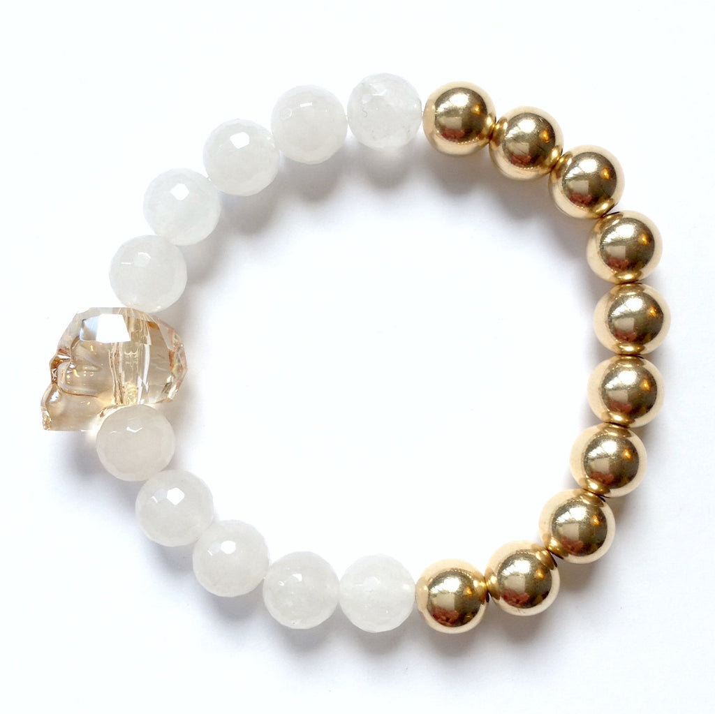 Solid Design Studios Swarovski Crystal Skull With Faceted White Agate & Gold–Filled Stretch Bracelet