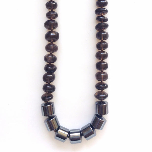 Solid Design Studios Concord Hand-Knotted Necklace — Smoky Quartz & Hematite
