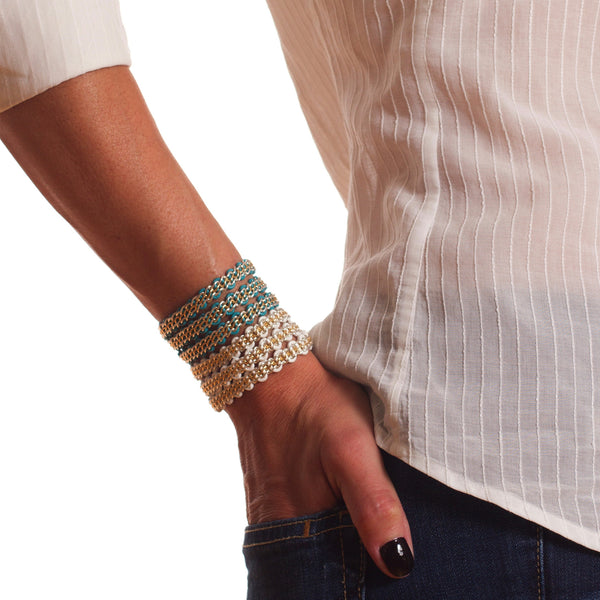 Braemar Wrap Bracelet — Sterling Silver & 14k Gold-Filled Chain on Turquoise Leather and on White Leather