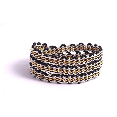 Braemar Wrap Bracelet - Sterling Silver and 14-Karat-Gold-Filled Chain on Black Leather