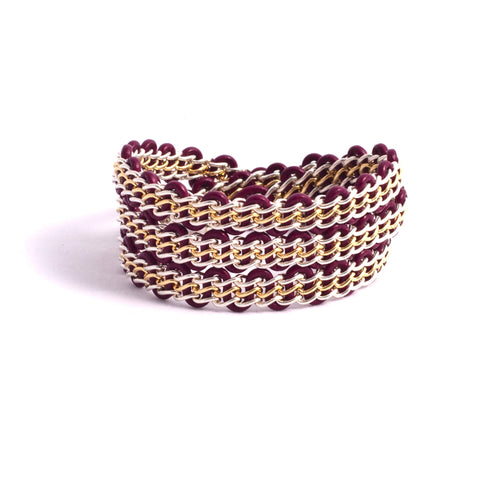 Braemar Wrap Bracelet — Sterling Silver & Gold-Filled on Burgundy Leather