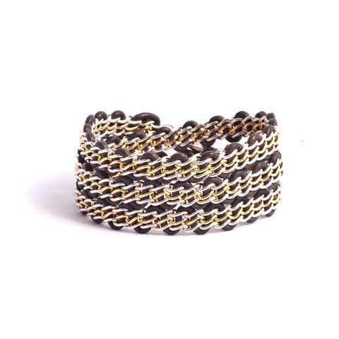 Braemar Wrap Bracelet — Sterling Silver & 14k Gold-Filled Chain on Grey Leather