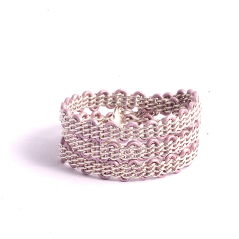 Braemar Wrap Bracelet — Sterling Silver Chain on Metallic Light Pink Leather