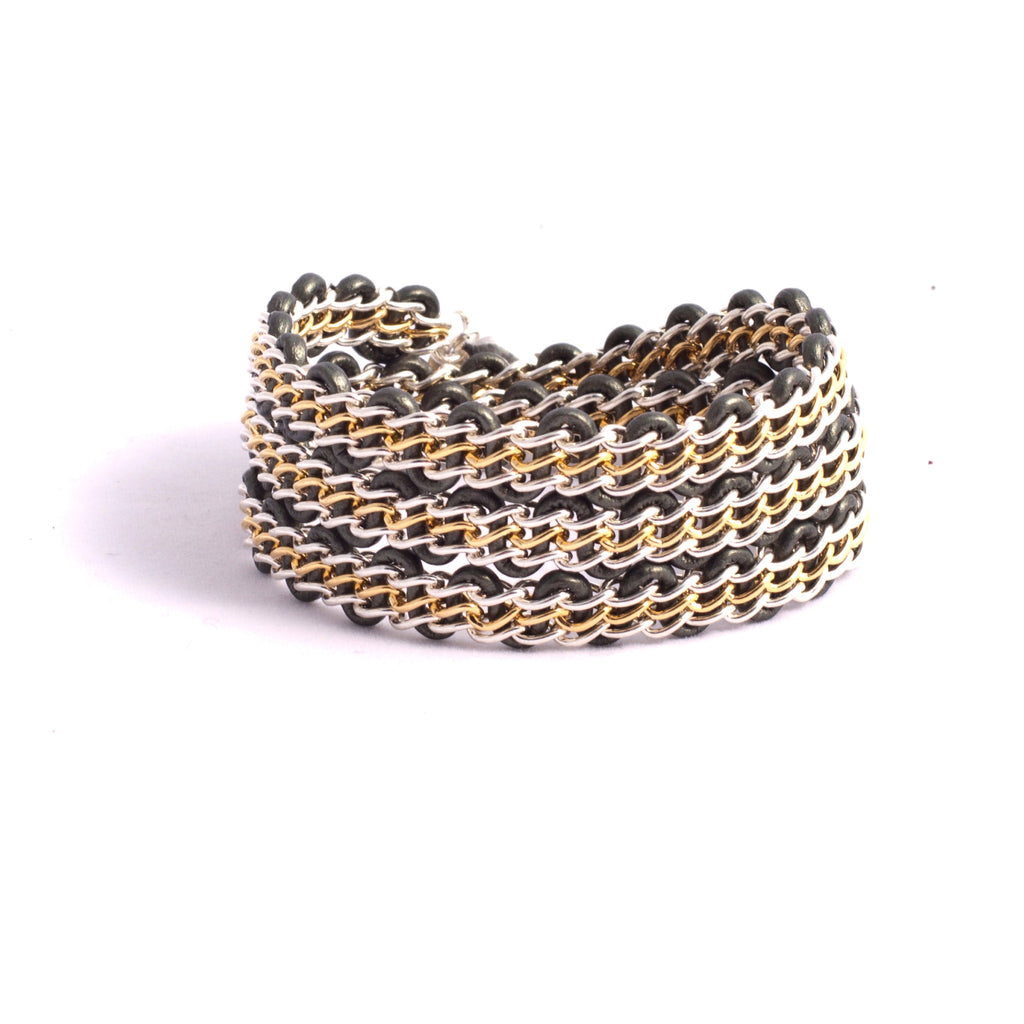 Braemar Wrap Bracelet — Sterling Silver & 14k Gold-Filled Chain on Metallic Sage Green Leather