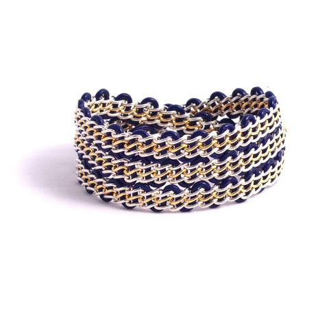 Braemar Wrap Bracelet — Sterling Silver & 14k Gold-Filled Chain on Navy Leather