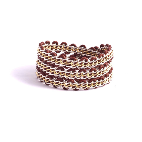 Braemar Wrap Bracelet — Sterling Silver & 14k Gold-Filled Chain on Saddle Leather