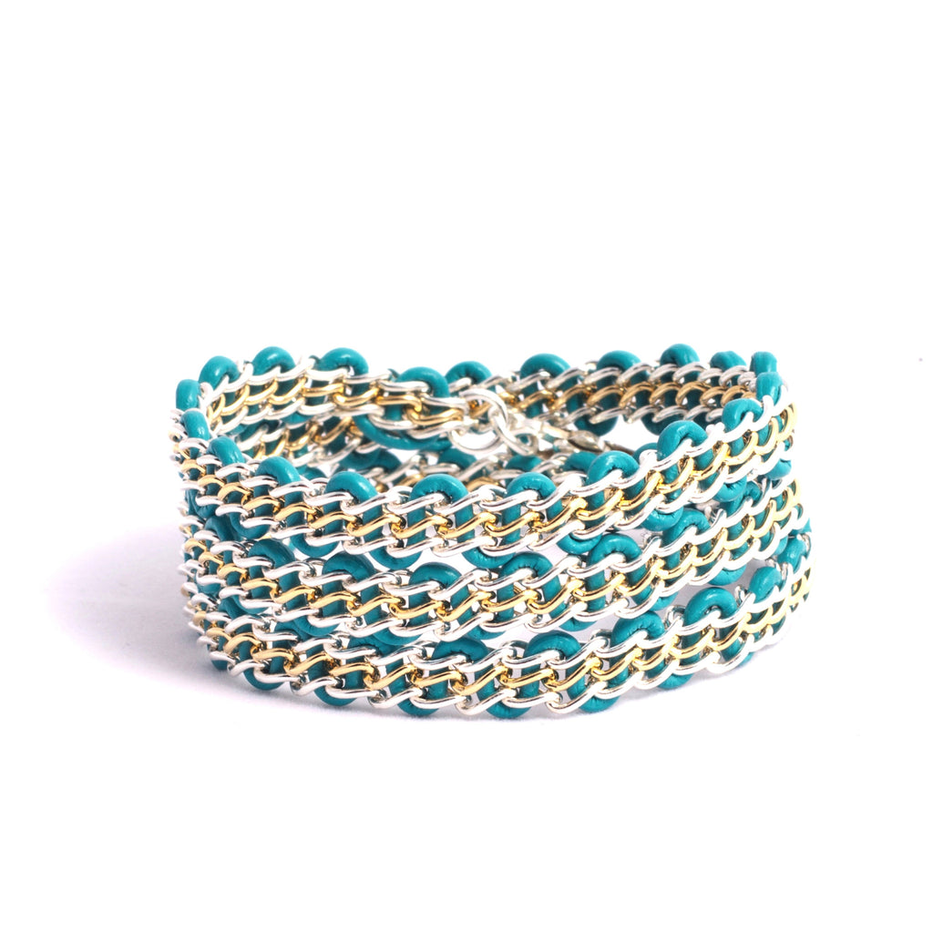 Braemar Wrap Bracelet — Sterling Silver & 14k Gold-Filled Chain on Turquoise Leather