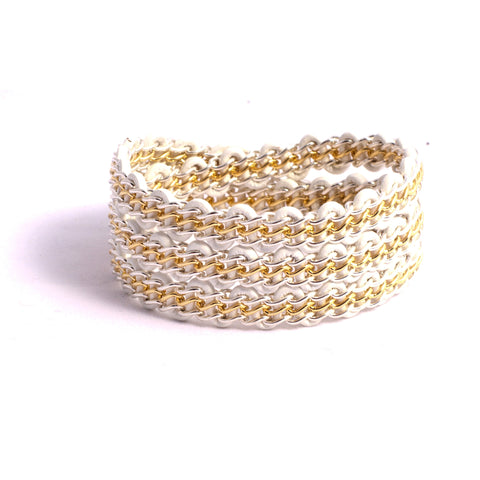 Braemar Wrap Bracelet — Sterling Silver & 14k Gold-Filled Chain on White Leather