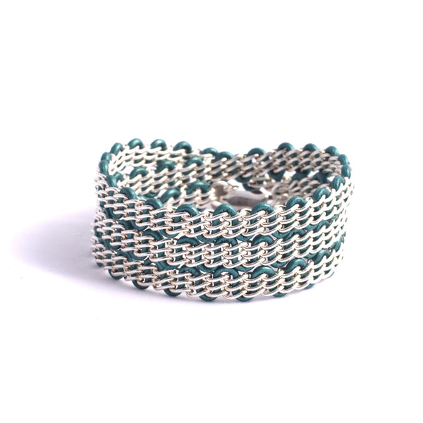 Braemar Wrap Bracelet — Sterling Silver Chain on Metallic Teal Leather