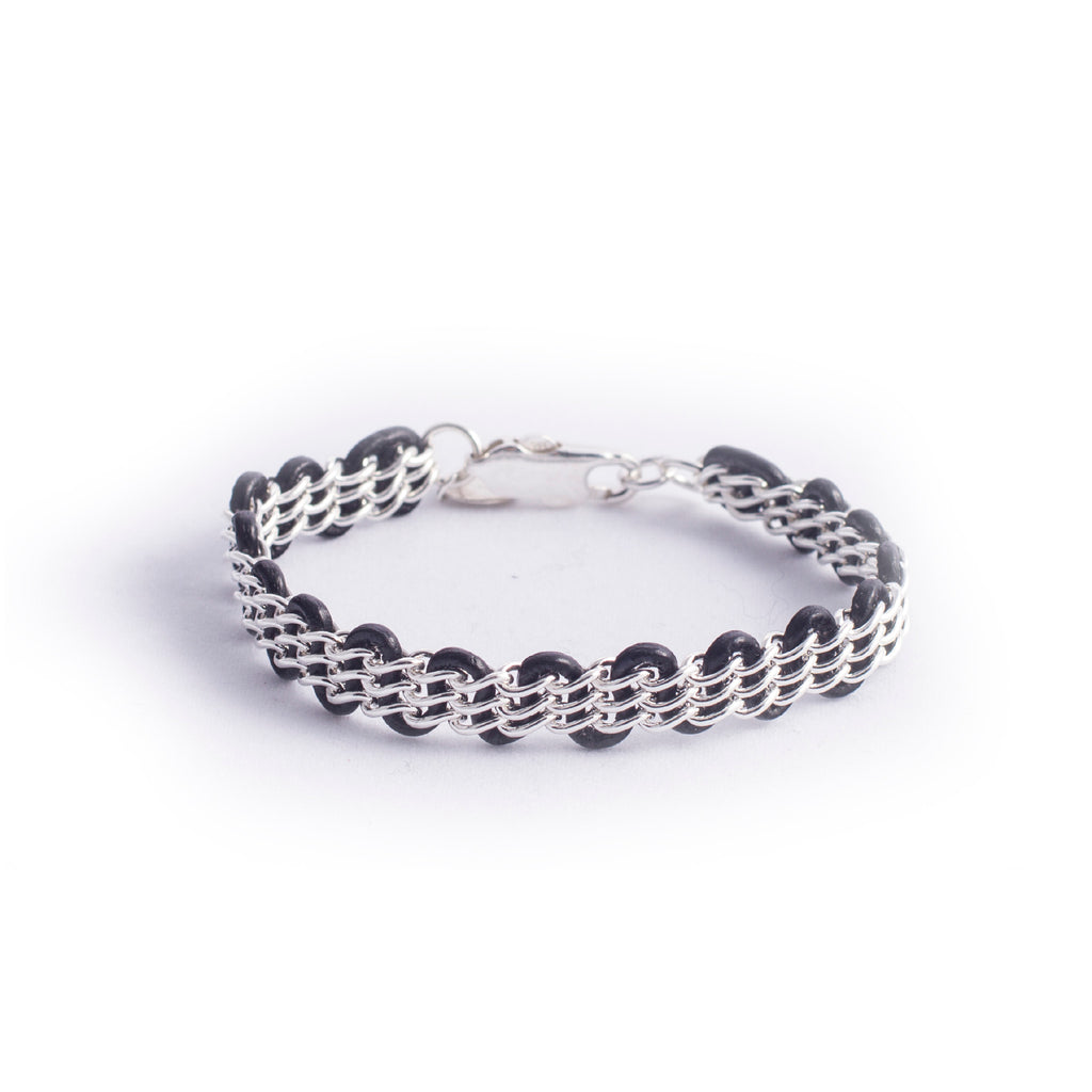 Cornelia Bracelet — Sterling Silver Chain on Black Leather