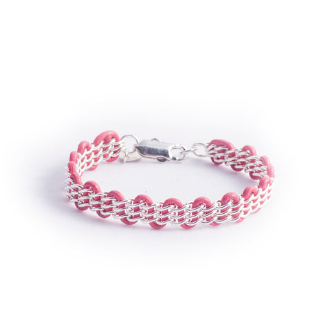 Cornelia Bracelet — Sterling Silver Chain on Flamingo Pink Leather