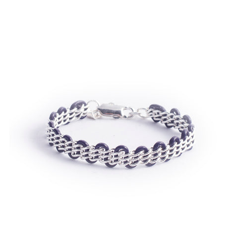 Cornelia Bracelet — Sterling Silver Chain on Indigo Leather