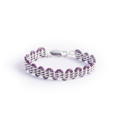Cornelia Bracelet — Sterling Silver Chain on Metallic Grape Leather