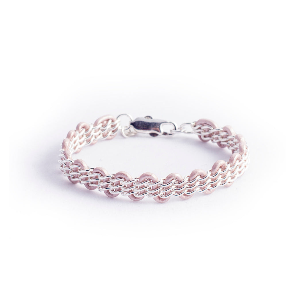 Cornelia Bracelet — Sterling Silver Chain on Metallic Light Pink Leather