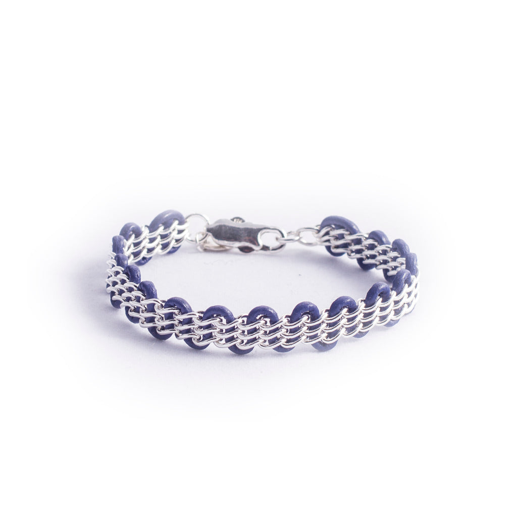 Cornelia Bracelet — Sterling Silver Chain on Violet Leather