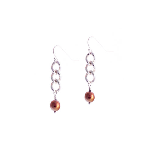 Gleason I Earrings — Sterling Silver Chain With Copper Pearls