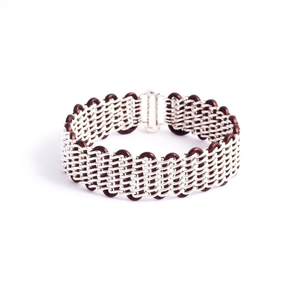 Lanham Bracelet — Sterling Silver Chain on Metallic Espresso Leather