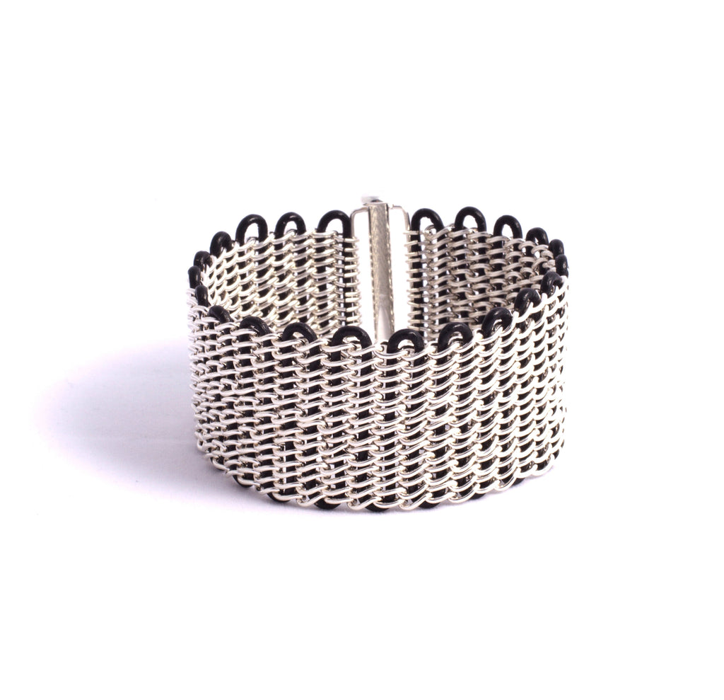 Maddox Cuff - Sterling Silver on Black Leather