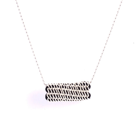 Olinger Tube Necklace - Sterling Silver Chain on Black Leather