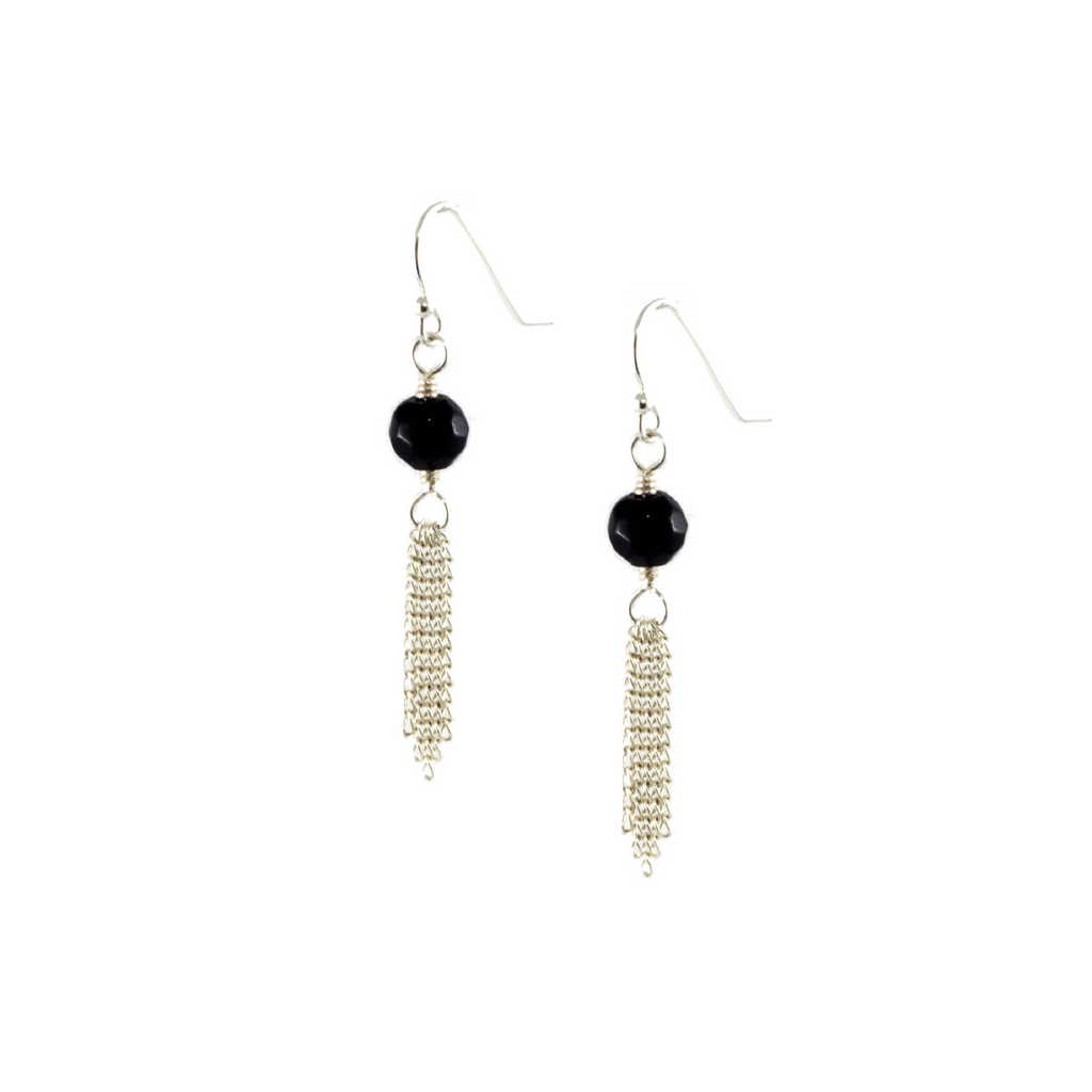 Solid Design Studios Townes Faceted Black Obsidian and Sterling Chain Tassel Earrings