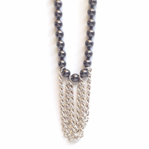Solid Design Studios Drexel Hematite and Heavy Sterling Chain Necklace
