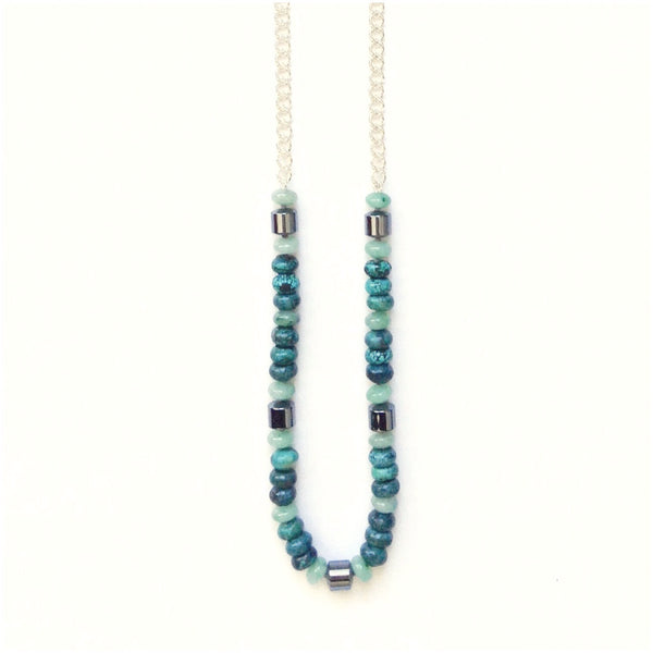 Solid Design Studios Lexington II Hand-Knotted Necklace — Turquoise, Aventurine, & Hematite on Heavy Sterling Silver Chain