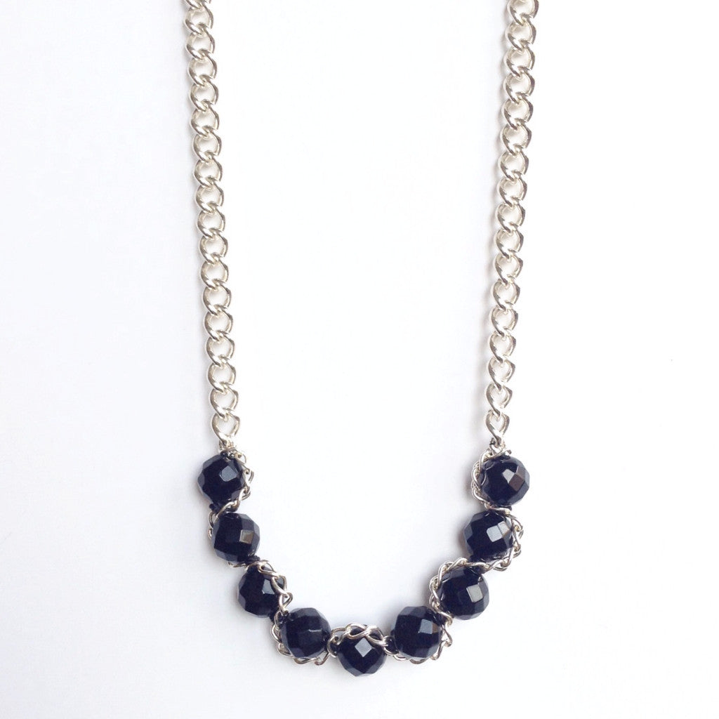 Solid Design Studios Abbott Sterling Chain & Faceted Onyx Necklace