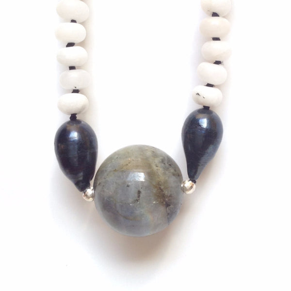 Parnell Hand-Knotted Necklace — Labradorite & Grey Snow Quartz