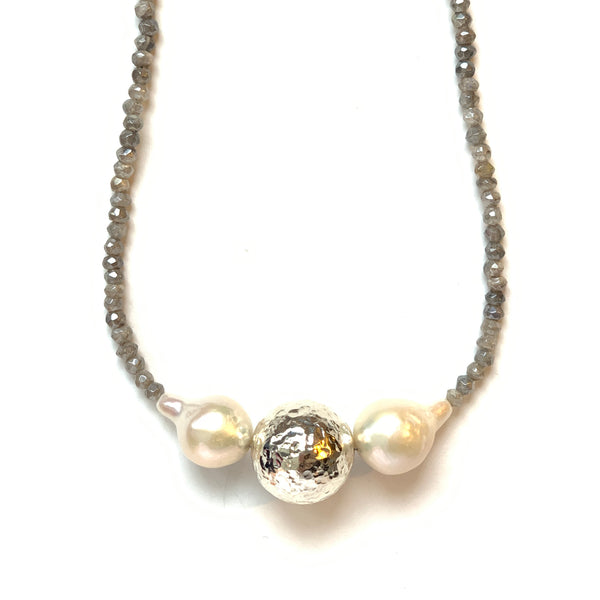Solid Design Studios Ultra Baroque Pearl, Hammered Sterling Silver & Labradorite Necklace