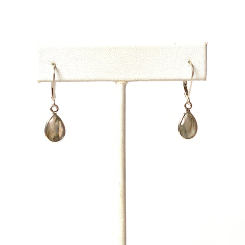 Solid Design Studios Small Faceted Bezeled Labradorite Earrings on Sterling Silver