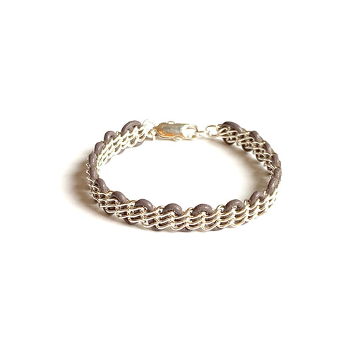 Cornelia Bracelet — Sterling Silver Chain on Grey Leather