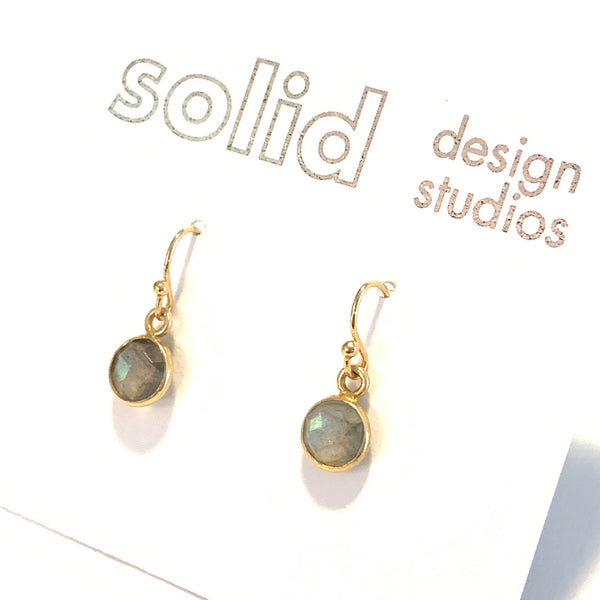 Solid Design Studios Tiny Labradorite & Gold Vermeil Bezeled Earrings