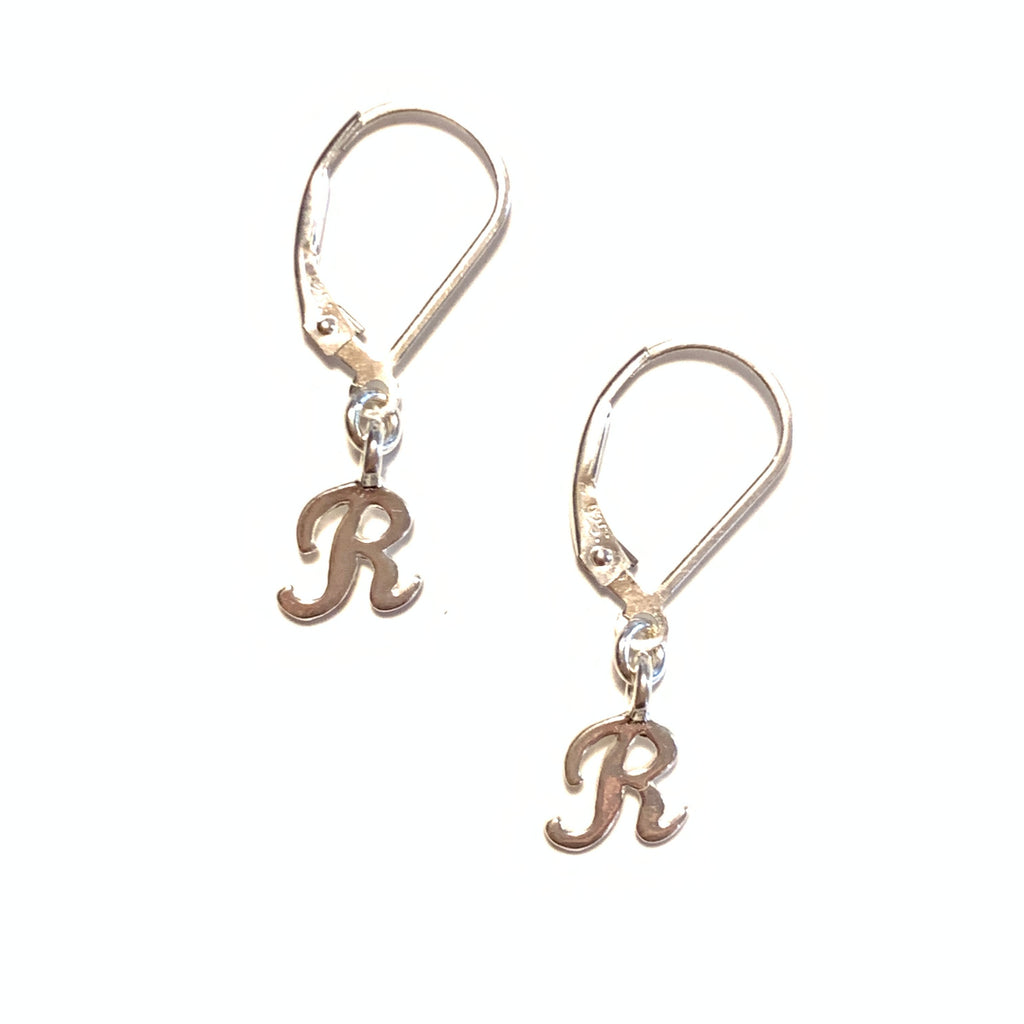 Initial Earrings – R – Sterling Silver