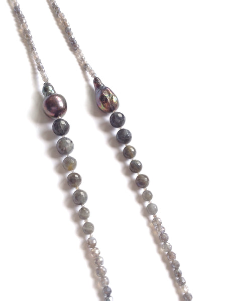 Faceted Labradorite & Ultra Baroque Peacock Pearl Necklace