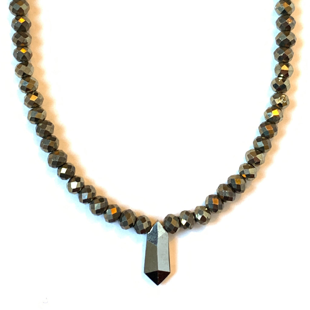 Solid Design Studios Faceted Pyrite Necklace With Pyrite Point