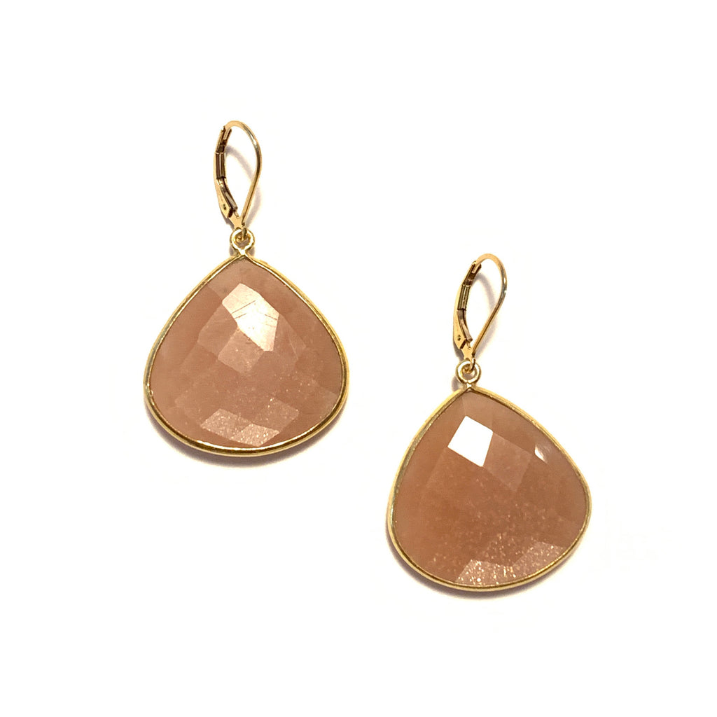 Solid Design Studios Peach Moonstone Bezeled Drop Earrings