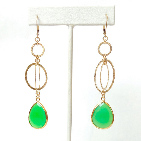 14k Gold–Filled Kinetic Earrings With Bezel-Set Chalcedony
