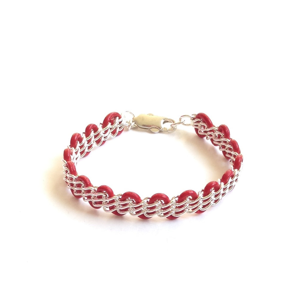 Solid Design Studios Cornelia Bracelet — Sterling Silver Chain on Red Leather