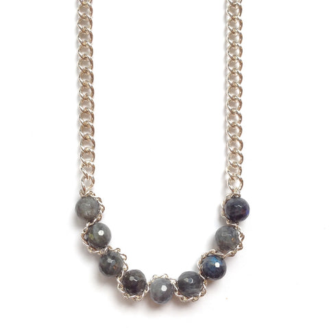 Solid Design Studios Abbott Sterling Silver Chain Necklace With Faceted Labradorite