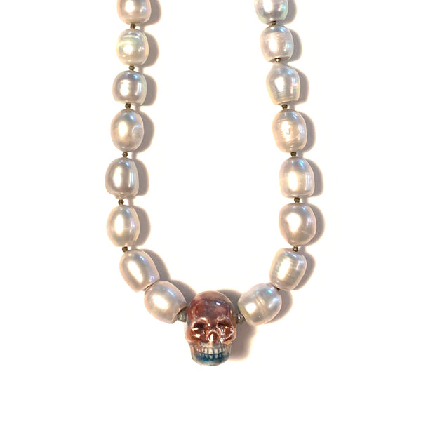 Solid Design Studios One-of-a-Kind Ceramic Skull & Freshwater Pearl Necklace