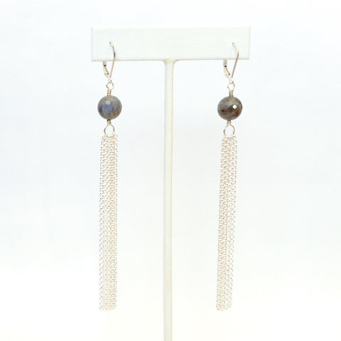 Solid Design Studios Valley Earrings — Faceted Labradorite & Sterling Silver Chain Tassels