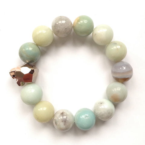 Solid Design Studios Swarovski Crystal Panther With Amazonite Stretch Bracelet
