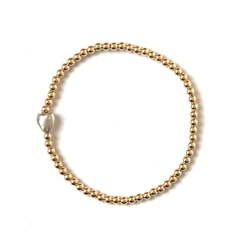 Solid Design Studios Sterling Silver Heart & 14k Gold–Filled Stretch Bracelet