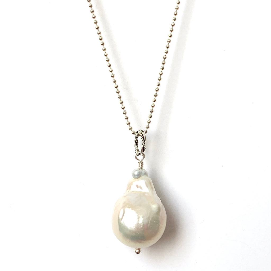 Solid Design Studios Ultra Baroque Pearl Necklace - Ivory Pearl on 28-Inch Bright Sterling Chain